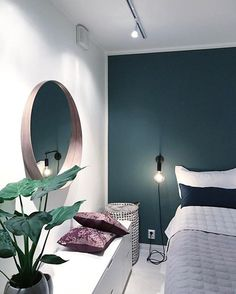 53 Ideas for bedroom green accents wall Best Plants For Bedroom, Bedroom Plants, Bedroom Inspo, Home Bedroom, Bedroom Decor, Bedroom Mirrors, Bedrooms, Bedroom Ideas, Master Bedroom