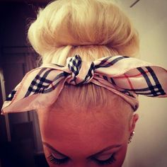 d4edc747df90 Burberry head tie with bun | tumblr