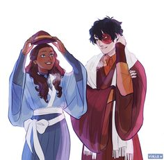 "viria: "" Zuko and Katara in taisho roman era clothing, commissioned by zukoshonours^^ "" Avatar Airbender, Avatar Aang, Katara Y Zuko, Team Avatar, Ang And Katara, Blue Avatar, Viria, Prince Zuko, The Last Avatar"