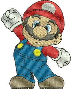mario embroidery Machine Embroidery Projects, Machine Embroidery Applique, Free Machine Embroidery Designs, Ribbon Embroidery, Mario And Luigi, Mario Bros, Super Mario, Baby Boy Dress, Janome
