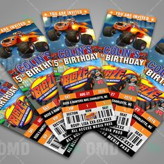 Great Blaze And The Monster Machines Ticket Style Cartoon Invites, great for birthday parties and baby showers