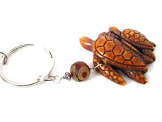 Mama Sea Turtle with Baby Keychain, Mystical Eye Bead Keychain - pinned by pin4etsy.com