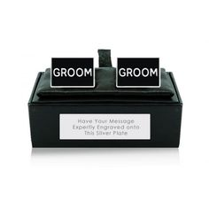 Rectangle Groom Cufflinks with Personalised Box  from www.personalisedweddinggifts.co.uk :: ONLY £19.95