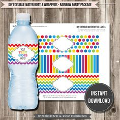 INSTANT DOWNLOAD - DIY Editable Rainbow Water Bottle Labels - Party Printable Circus Party Art Party Ready to print Paint party decorations