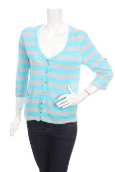 GC FONTANA WOMEN KNIT BLOUSE CARDIGAN BLUE GRAY STRIPED Size 38 M 100% LINEN #GCFONTANA #Cardigan #Work