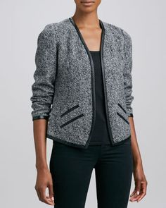 Tweed Cashmere Leather-Trim Jacket  by Neiman Marcus at Neiman Marcus.