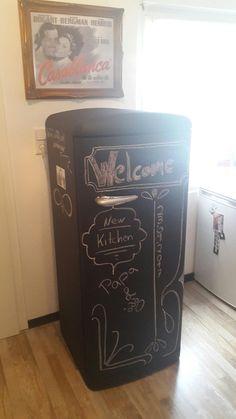 Kühlschrank mit Tafelfarbe streichen Shabby