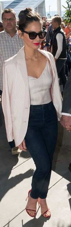 Who made Olivia Munn's red sandals, stripe blazer, and tank top?