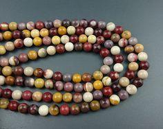 natural mookaite jasper beads red yellow mookaite by GargiaJewelry