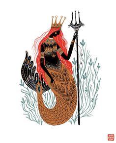 Queen Of Neptunia Art Print — mirdinara Gouache Painting, Painting Prints, Art Prints, Painting Tips, Abstract Paintings, Art Paintings, Mermaid Illustration, Illustration Art, Cat Illustrations