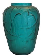 Unusual Antique Signed Sabino Art Deco French Art Glass Vase Parrots