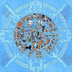 Dendera zodiac with original colors. (CC BY-SA 3.0) The 36 spirits enclose a group of constellations, amongst which are the signs of the zodiac. Many of these signs are familiar to the modern-day viewer. Amongst others, the images of a bull, a scorpion, a pair of scales, and a ram can be found on the disc. These represent the signs of Taurus, Scorpio, Libra, and Aries respectively. Nevertheless, there are also constellations that have a more pharaonic 'flavor'.