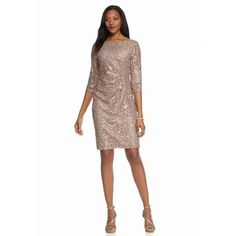 Scarlett Champagne Lace And Sequin Sheath Dress - Women's (€57) ❤ liked on Polyvore featuring dresses, champagne, three quarter sleeve dresses cocktail dress, lace sleeve dress, champagne lace dress, sequined dresses and sequin cocktail dresses