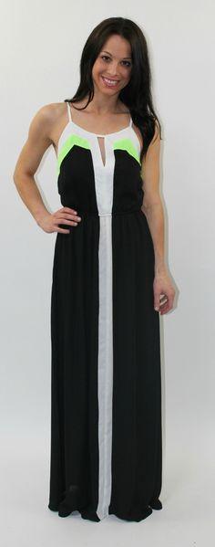 Dottie Couture Boutique - Color Block Neon Maxi- Black, $52.00 (http://www.dottiecouture.com/color-block-neon-maxi-black/)