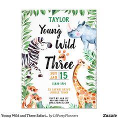 Young Wild and Three Safari Animal 3rd Birthday Magnetic Invitation Wild One Birthday Invitations, Birthday Postcards, Third Birthday, 3rd Birthday Parties, Birthday Ideas, Birthday Gifts, Happy Birthday, Birthday Bash, Postcard Invitation