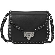 Valentino Rockstud Leather Black Crossbody (20,375 MXN) ❤ liked on Polyvore featuring bags, handbags, shoulder bags, valentino crossbody, valentino shoulder bag, crossbody shoulder bag, valentino handbags and valentino purses
