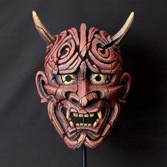 Japanese Hannya Mask (Antique Red) By Matt Buckley Edge Sculpture Japanese Mask Meaning, Japanese Hannya Mask, Japanese Demon Tattoo, Japanese Demon Mask, Japanese Warrior, Hannya Maske Tattoo, Oni Mask Tattoo, Mascara Oni, Japan Icon