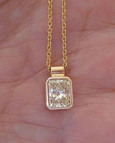Luxinelle Carat Radiant Cut Bezel Diamond Solitaire Pendant on a Chain - Yellow Gold Men's Jewelry Rings, Gold Jewelry, Fine Jewelry, Gold Necklaces, Vintage Jewellery, Antique Jewelry, Diamond Solitaire Necklace, Diamond Pendant, Diamond Rings
