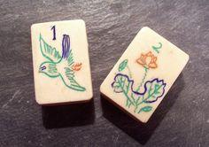 VINTAGE Mah Jongg Tiles Mah Jong Bone and Bamboo Tiles by punksrus, $5.50