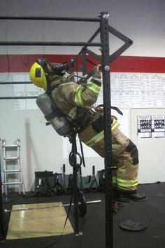 Fitness for saving lives. Pullups with full gear on. And you were crying about not wanting to work out today. DO WORK!!! #FITNESS #INSPIRATION #HERO - repinned by Crossed Iron Fitness