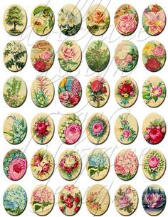 Vintage Victorian Botanicals and Roses - Printable Digital Collage Sheet  - 36 Designs - 30 x 40 mm Ovals - Pendants Jewelry Necklaces.