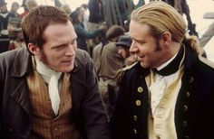 Master and Commander: Russell Crowe as Jack Aubrey and Paul Bettany as Stephen Maturin. Another great friendship on and off screen. Master And Commander, Dystopia Rising, A Knight's Tale, Paul Bettany, Russell Crowe, War Film, O Brian, Pirate Life, Classic Literature