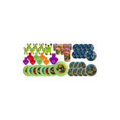 Fill your birthday party loot bags with all these party favors from your favorite Teenage Mutant Ninja Turtles. Includes: 8 Whistles, 8 Prism viewers, 8 Flying discs, 8 Wall climbers, 8 Tops, 8 Maze p