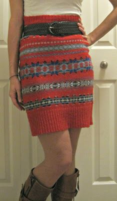 Make a skirt from an ugly holiday/Christmas sweater @Sarah Martin
