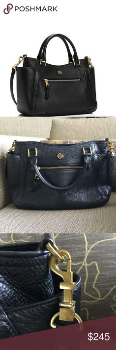 """Tory Burch Frances Satchel Light use on hardware. Other than that in excellent condition.  Made of soft pebbled leather that's supple yet retains its structure. A super-functional shape, it features top handles and an optional, adjustable cross-body strap for versatility. It can hold a large wallet, a makeup case and a phone — plus a 10"""" tablet, a magazine and a sunglass case, with room to spare.   Interior snap pocket and 2 open pockets. Interior zipper pocket. Height: 11.5""""  Length: 13.5""""…"""