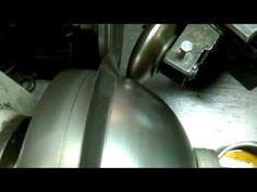 fast spinning hemisphere 1mm metal spinning (brass) wyoblanie www.rosik.pl - YouTube