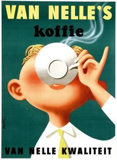 1956 Dutch ad for Van Nelle quality coffee.