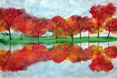 Madeline592's art on Artsonia In this project, students learned a new way to draw trees--the Y method. Then they painted leaves, sky, and land and used a monoprinting technique to make a reflection.