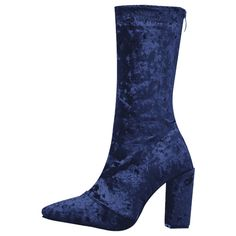 Pointed Toe Block Heel Mid Calf Boots ($45) ❤ liked on Polyvore featuring shoes, boots, midi boots, blue mid calf boots, pointy-toe boots, calf length boots and pointed-toe boots