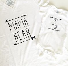 Mama Bear and Lil Cub Mommy and Me Shirt Set, Boho Chic, Arrows, Trendy, Hip Baby Clothing, Boys or Girls Shirt