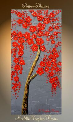 ORIGINAL Modern Art Abstract Painting Wall Decor Red Blossom Tree Painting Texture Art palette knife Mixed Media acrylic painting