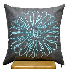 Blue Flower Pillow Cover Ash Grey Pillow Blue by KainKain on Etsy, $22.00