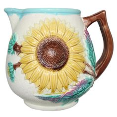 Antique Majolica Sunflower Pitcher SATURDAY SALE | From a unique collection of antique and modern ceramics at http://www.1stdibs.com/furniture/dining-entertaining/ceramics/