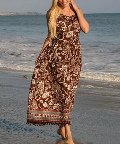 Look what I found on #zulily! Brown Paisley Embellished-Hem Maxi Dress by Ananda's Collection #zulilyfinds