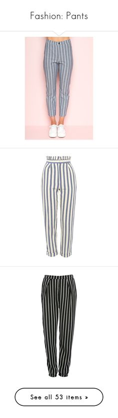 """""""Fashion: Pants"""" by katiasitems on Polyvore featuring pants, stripe pants, pink trousers, pink high waisted pants, high waisted striped trousers, high-waisted pants, bottoms, trousers, pantalones and jeans"""
