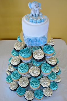 Baby Blue Cupcake Tower by Cupcakes by Paolo, via Flickr