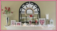 Valentines Mantel with easy DIY wreath...and it's interchangeable!!! Brilliant!  www.creativity52.com