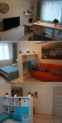 Пример разделения пространства небольшой комнаты на спальню и гостиную - Дизайн интерьеров | Идеи вашего дома | Lodgers