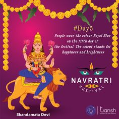 Goddess Skandamata 🙏 #Day5 On the fifth day of Navratri all Indian's worship Maa Skandamata the 5th avatar of NavDurga. When Maa Parvati became Mother of Lord Kartikeya, who is also known as Lord Skanda therefore, she came to be known as Skandamata. Navratri Images, Navratri Festival, Royal Blue Color, Worship, Avatar, Lord, Indian, Pure Products, Silver