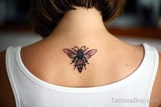 Bee Tattoo Design On Back-TD1043