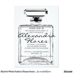 Black & White Fashion Theme Sweet Sixteen Birthday 5x7 Paper Invitation Card