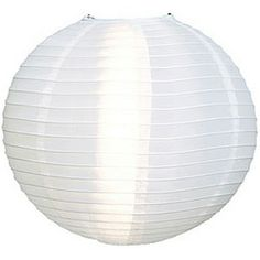 "White Large Nylon Outdoor Paper Lanterns.  24"" diameter.  These shimmery white nylon lanterns are weather-resistant and suitable for use as outdoor decorations. They can be used with our battery-operated LED lights as well as our light cord kits. They can also be used on most ceiling fixtures."