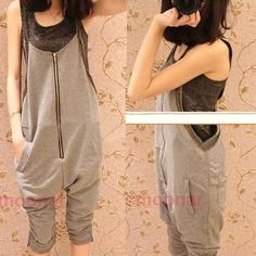 Girls Loose Zip Jumpsuits Rompers Skinny Harem Pants Overalls Sports Grey Casual