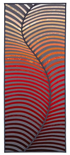"""By Diane Firth.  """"Bimbimbie"""" Dimensions: 198 cm x 82.5 cm (80 in x 32 in) (H x W)  Statement: This commissioned quilt was made for the foyer of a home that overlooks an expansive valley."""