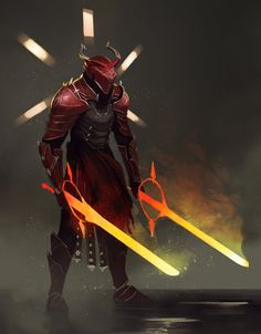Created a faction that exists within the world of Beacon called Red Knights. Beacon - The Fencer Fantasy Character Design, Character Design Inspiration, Character Concept, Character Art, Fantasy Armor, Dark Fantasy, Illustration Fantasy, Arte Ninja, Red Knight