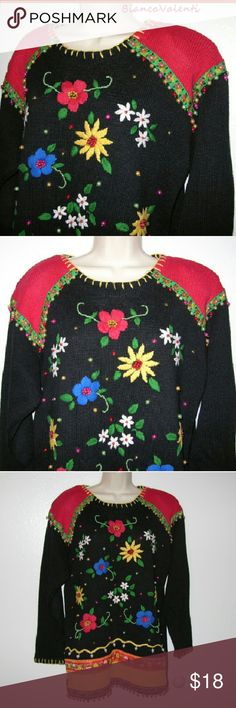 """Embroidered beaded cotton blend sweater..d Awesome details! Bust 48"""" Long 30"""" Pretty heavy sweater Victoria Jones Sweaters"""